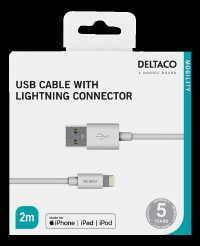 iPhone-latauskaapeli 2M Valkoinen USB-Lightning Deltaco