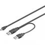 USB Strömkabel 2x typ A ha till 1x typ MiniB ha (liten bild)